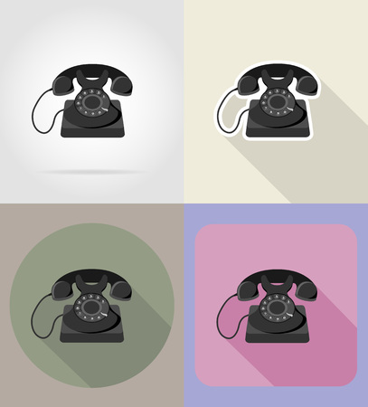 switchboard operator: old retro vintage phone flat icons vector illustration isolated on background Stock Photo