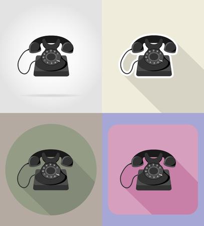 switchboard operator: old retro vintage phone flat icons vector illustration isolated on background Stock Photo