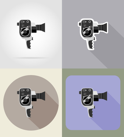 cinematographer: old retro vintage movie video camera flat icons vector illustration isolated on background