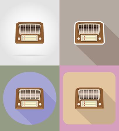portative: old retro vintage radio flat icons vector illustration isolated on background Stock Photo