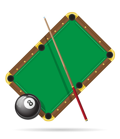 game of pool: billiards pool table vector illustration isolated on white background