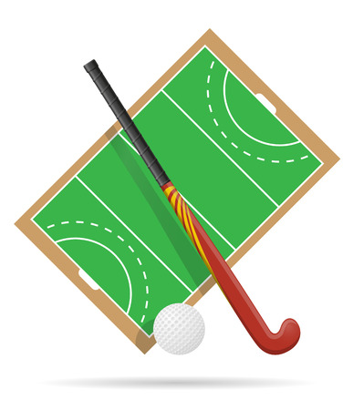 hockey cesped: field of play in hockey on grass vector illustration isolated on white background Foto de archivo