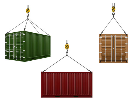 container hanging on the hook of a crane vector illustration isolated on white background Stock Photo