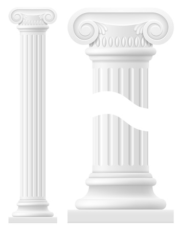 antiquities: antique column stock vector illustration isolated on white background