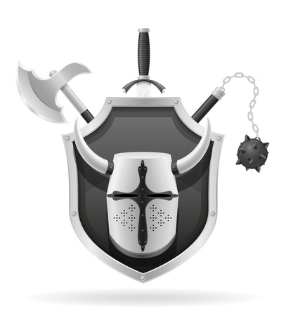 ancient battle weapons stock black silhouette vector illustration isolated on white background
