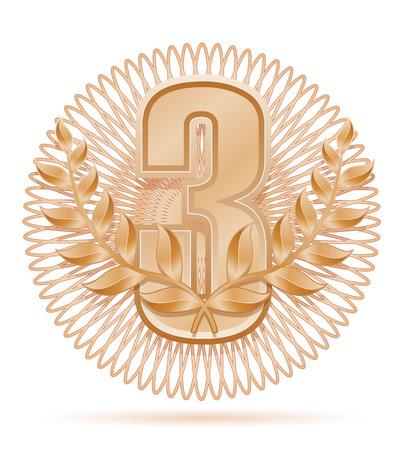 laureate: laureate wreath winner sport bronze stock vector illustration isolated on white background Stock Photo