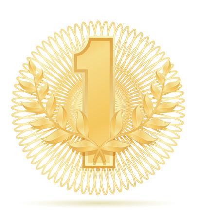 laureate wreath winner sport gold stock vector illustration isolated on white background