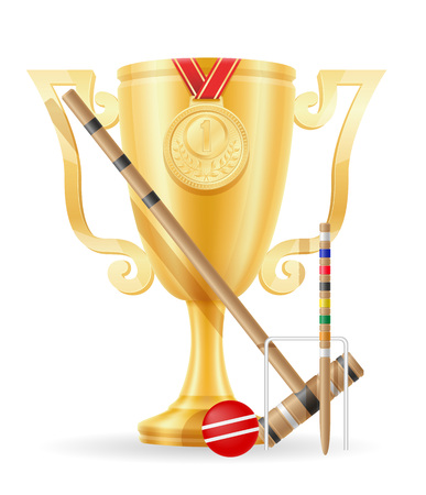 croquet cup winner gold stock vector illustration isolated on white background