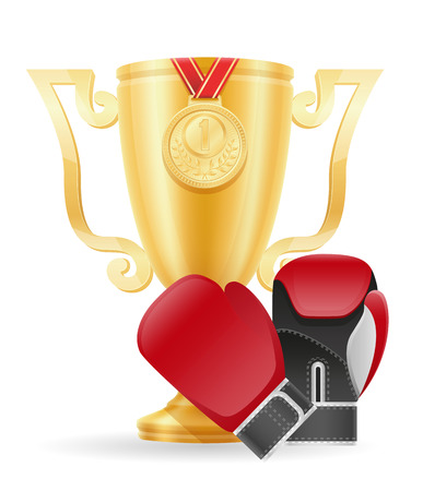 gratitude: boxing cup winner gold stock vector illustration isolated on white background Stock Photo
