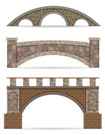 stone bridge stock vector illustration isolated on white background Imagens