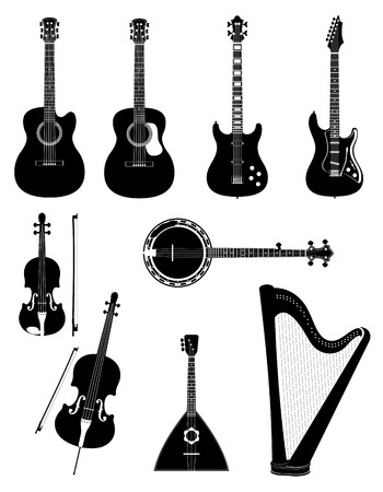 cellos: stringed musical instruments stock black outline silhouette vector illustration isolated on white background