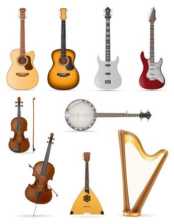 stringed musical instruments stock vector illustration isolated on white background