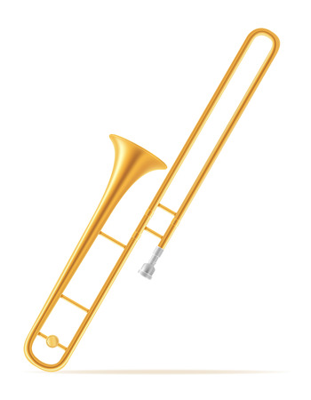 trombone wind musical instruments stock vector illustration isolated on white background
