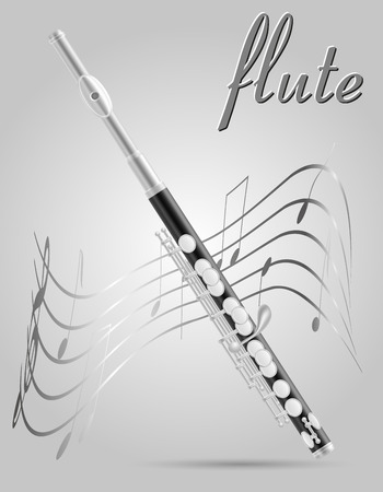 flute wind musical instruments stock vector illustration isolated on gray background