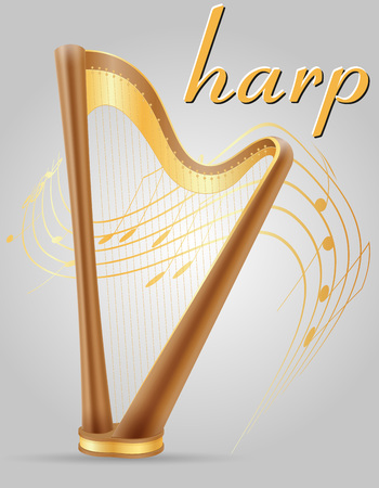 orchestral: harp musical instruments stock vector illustration isolated on gray background