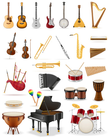 flute key: musical instruments set icons stock vector illustration isolated on white background