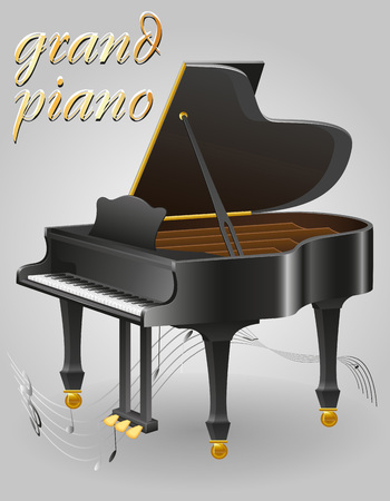 grand piano musical instruments stock vector illustration isolated on gray background Stock Photo