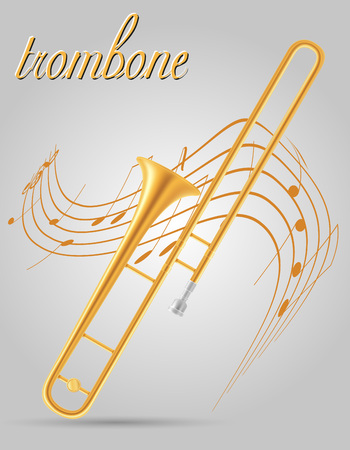 trombone wind musical instruments stock vector illustration isolated on gray background