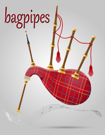 bagpipes: bagpipes wind musical instruments stock vector illustration isolated on gray background