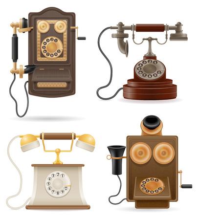 old phone: phone old retro set icons stock vector illustration isolated on white background
