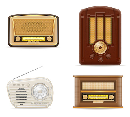 fm: radio old retro vintage set icons stock vector illustration isolated on gray background