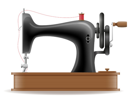 technique: sewing machine old retro vintage icon stock vector illustration isolated on gray background