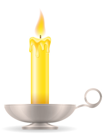 candle with candlestick old retro vintage icon stock vector illustration isolated on white background