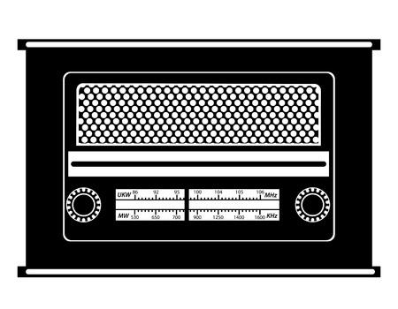 fm: radio old retro vintage icon stock vector illustration black outline silhouette isolated on white background Stock Photo