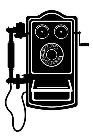 telecommunications equipment: phone old retro vintage icon stock vector illustration black outline silhouette isolated on white background