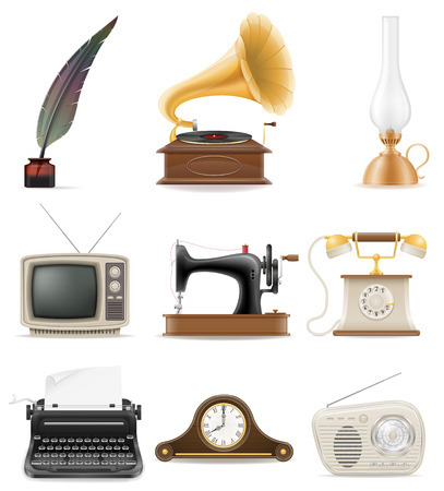 set of much objects retro old vintage icons stock vector illustration isolated on white background Stock Photo