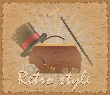 retro style poster old valise and mens accessories stock vector illustration Stock Photo