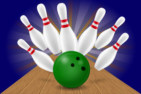 Bowling ball and pin vector illustration isolated on background