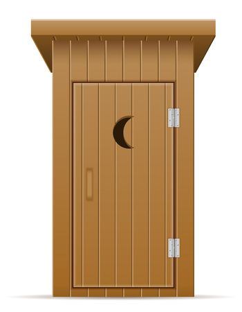 wooden outdoor toilet vector illustration vector illustration isolated on white background 스톡 콘텐츠