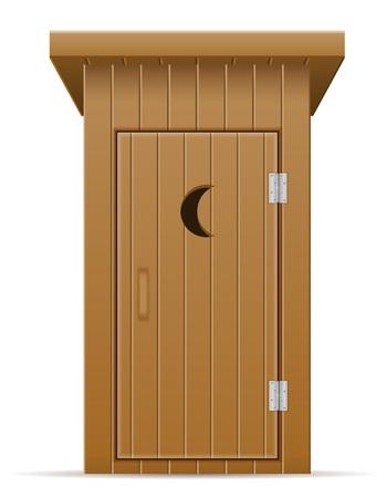 wooden outdoor toilet vector illustration vector illustration isolated on white background Stock Photo