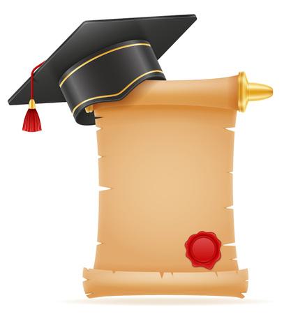 白い背景に分離された学術の卒業鏝板正方形のキャップ ベクトル図 写真素材