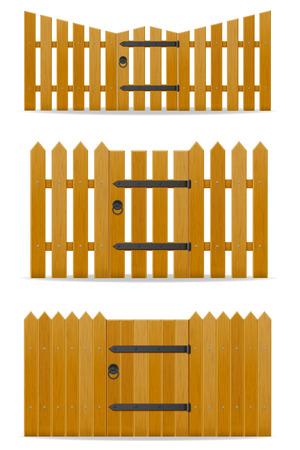 wooden fence with wicket door vector illustration isolated on white background