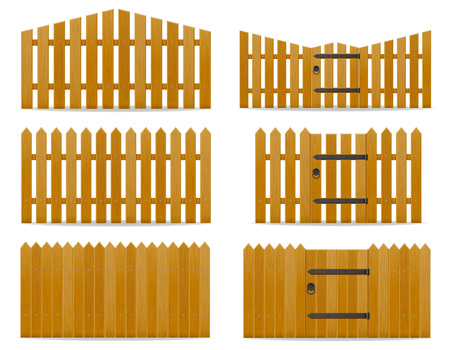 wooden fence vector illustration isolated on white background Stock Photo