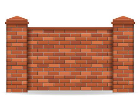bakstenen hek vector illustratie geïsoleerd op een witte achtergrond