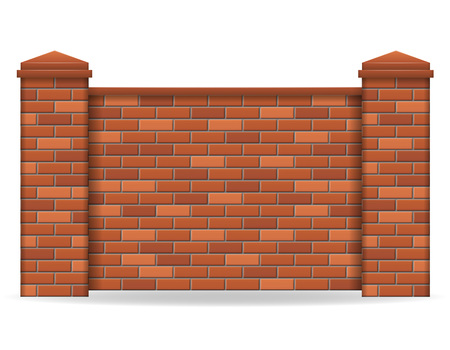 brick fence vector illustration isolated on white background Stok Fotoğraf - 92119392