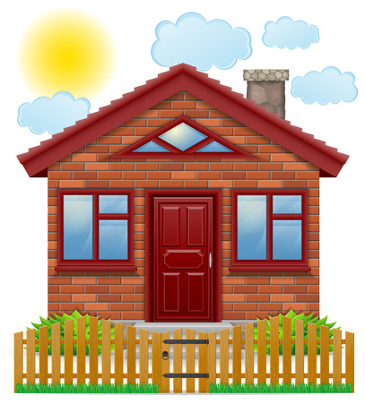 small country house with a wooden fence vector illustration isolated on white background Stock Photo