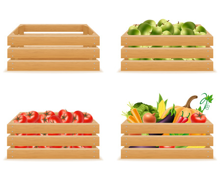 set wooden box with fresh and healthy vegetables vector illustration isolated on white background Stock Photo