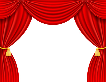 red theatrical curtain vector illustration isolated on white background