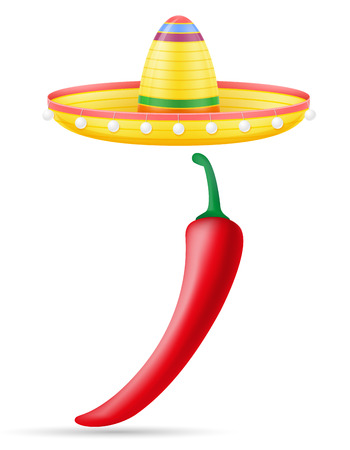 sombrero national mexican headdress and peper vector illustration isolated on white background