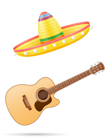 sombrero national mexican headdress and guitar vector illustration isolated on white background Stock Photo