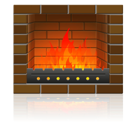 burning fire in the fireplace vector illustration isolated on white background Stock Illustration - 107385661
