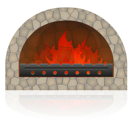 burning fire in the fireplace vector illustration isolated on white background