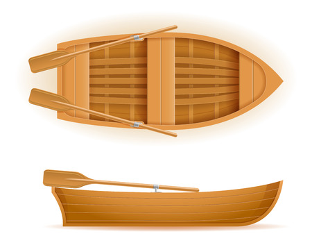 wooden boat top and side view vector illustration isolated on white background