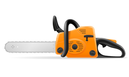 gasoline chainsaw vector illustration isolated on white background Stock Photo