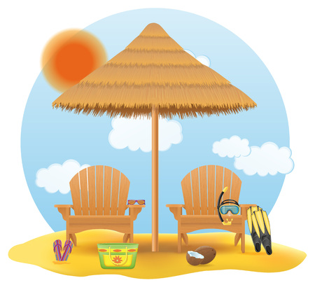 beach armchair lounger deckchair wooden and umbrella made of straw and reed for shade vector illustration isolated on white background