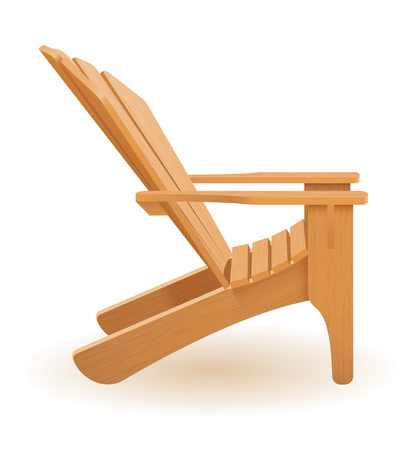 beach or garden armchair lounger deckchair made of wooden vector illustration isolated on white background